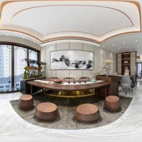 新中式大厅加茶室3D模型【ID:647344648】