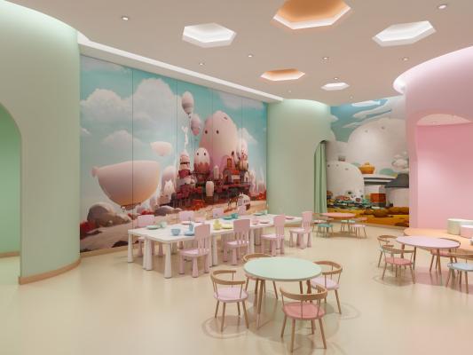 現代兒童餐廳3D模型【ID:952223676】