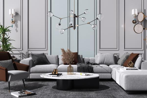 现代布艺转角沙发茶几组合 休闲单人椅子 水晶吊灯
