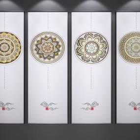 新中式艺术画3D模型【ID:245667963】