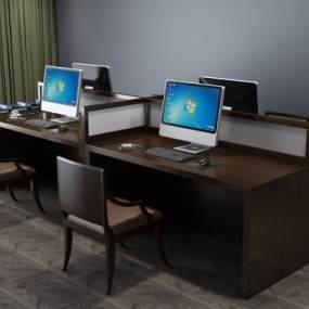 新中式工作桌办公桌3D模型【ID:930754120】