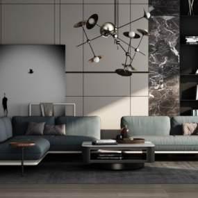 现代多人沙发组合3D模型【ID:647740758】