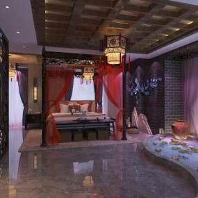 中式酒店客房3D模型【ID:733324303】