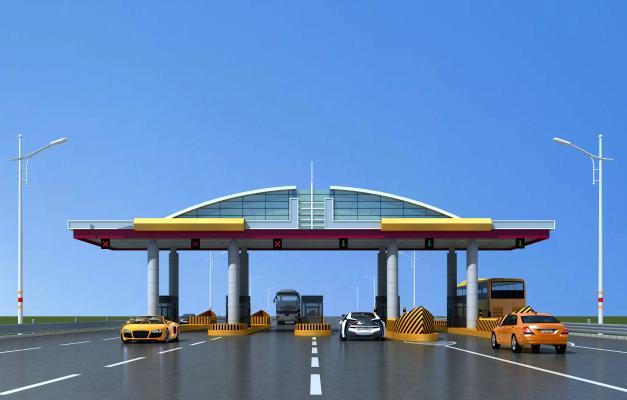 现代高速收费站雨棚3D模型【ID:144121955】