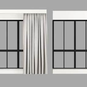 现代落地窗窗帘组合3D模型【ID:331411295】