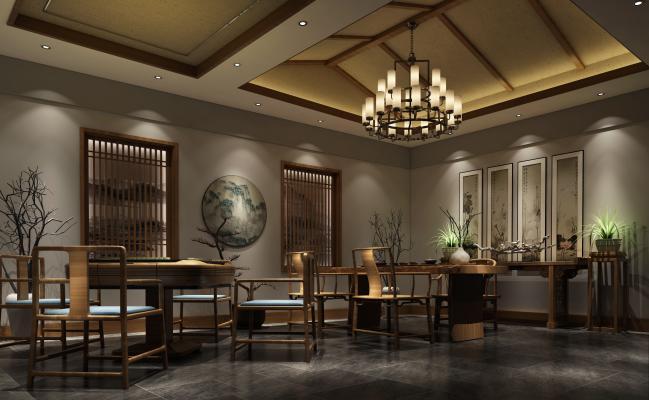 新中式風格茶館3D模型【ID:641993682】