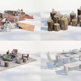 現代庭院餐桌組合3D模型【ID:851146890】