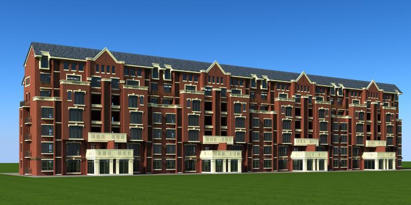 欧式多层洋房住宅3D模型【ID:131813796】