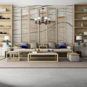 新中式实木多人沙发组合 3D模型【ID:641336795】