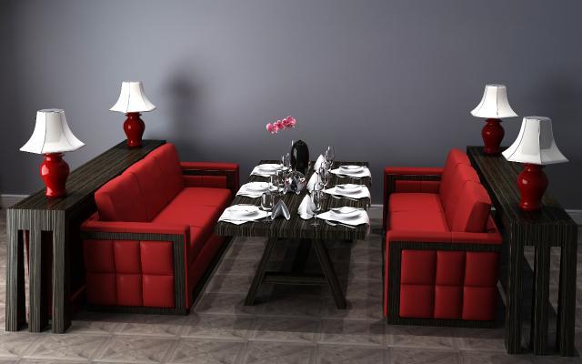 后现代餐桌餐桌椅3D模型【ID:630864971】