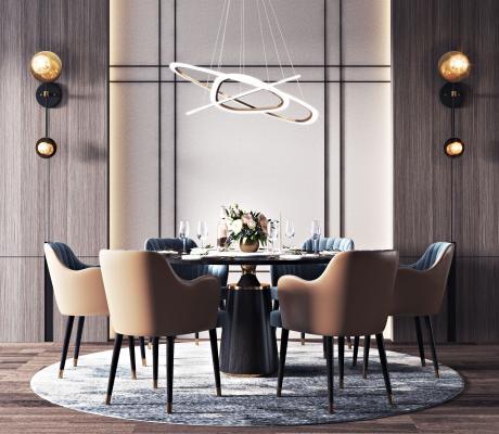 現代餐桌椅組合3D模型【ID:747411164】