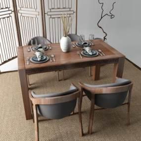 新中式餐桌3D模型【ID:851264866】