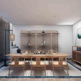 新中式茶室3D模型【ID:635435658】