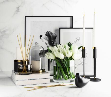 现代花卉 花瓶 蜡烛台 装饰画 摆件