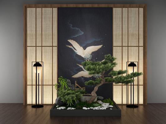 日式背景墙园艺小景3D模型【ID:130590453】