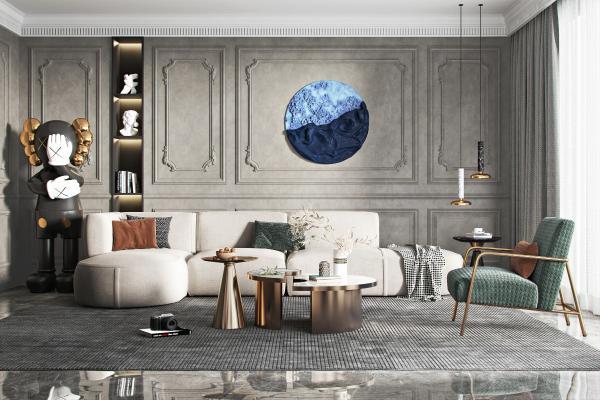 现代沙发茶几组合 转角沙发 单人休闲椅