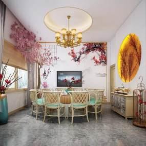 新中式餐厅3D模型【ID:632158213】