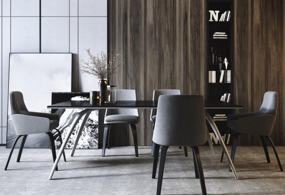 现代轻奢餐桌椅组合3D模型【ID:852510832】