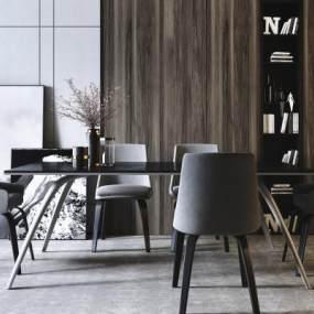 現代輕奢餐桌椅組合3D模型【ID:852510832】