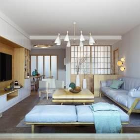 新中式客厅3D模型【ID:535846076】