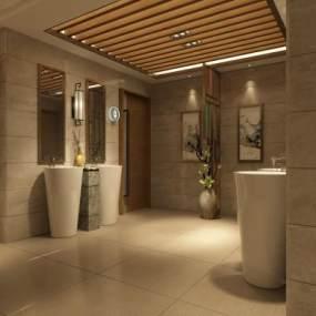 现代饭店走廊卫生间3D模型【ID:631783555】