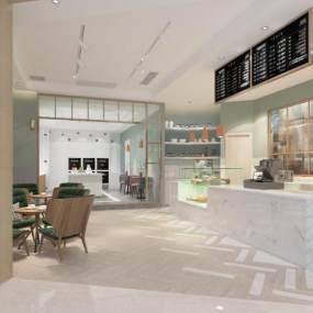 现代甜品店奶茶店咖啡店3D模型【ID:634915443】