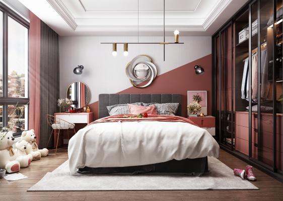 北欧风格卧室3D模型【ID:543874281】