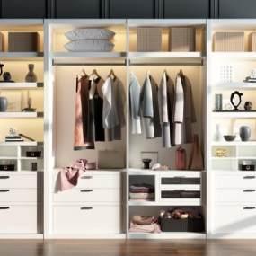 现代衣柜装饰柜摆件组合3D模型【ID:132819472】