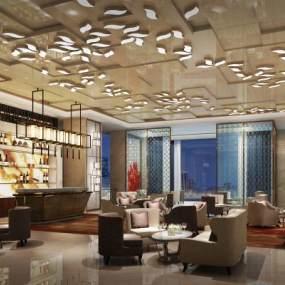 后现代酒店奢华大堂吧3D模型【ID:744024035】