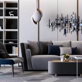 现代多人沙发休闲椅组合3D模型【ID:631413786】