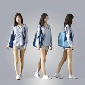 现代女人女性人物女模特3D模型【ID:336029056】