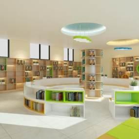 现代学校阅览室3D模型【ID:937137605】
