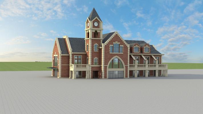 歐式建筑別墅3D模型【ID:141770325】