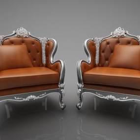 欧式单人沙发 3D模型【ID:642340450】