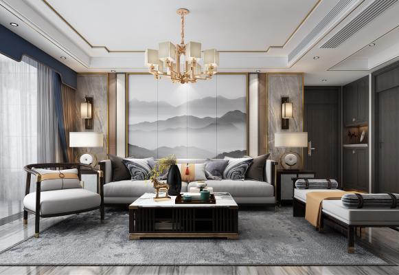 新中式沙發3D模型【ID:652058724】
