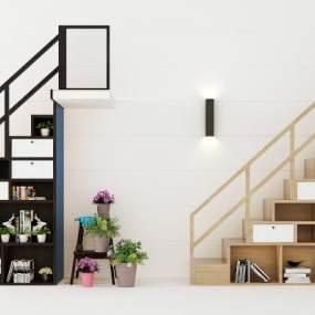 现代楼梯组合3D模型【ID:332764543】