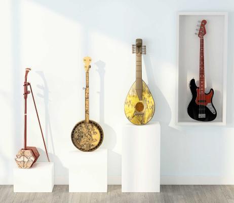 現代二胡吉他組合3D模型【ID:445873454】