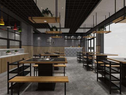 工业风火锅店3D模型【ID:649461511】