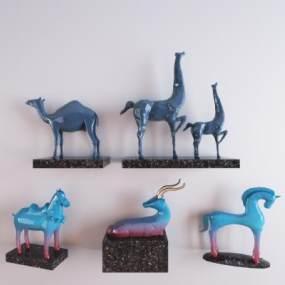 現代動物陶瓷擺件3D模型【ID:253357547】