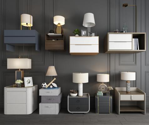 现代简约床头柜 台灯 小吊灯组合 床头柜 单个床头柜