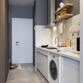 北欧公寓厨房3D模型【ID:545631364】