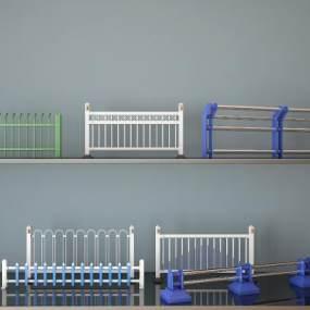 现代路障围栏市政护栏3D模型【ID:335856467】