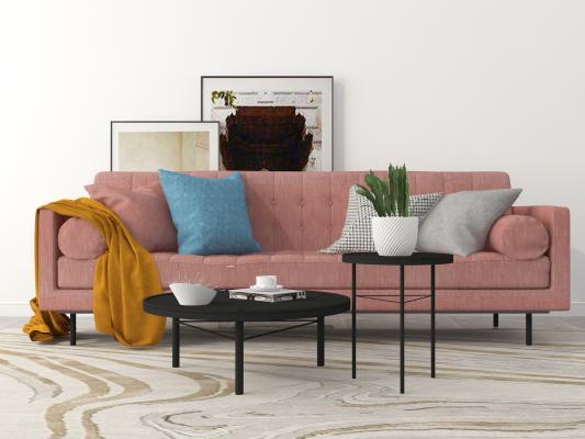 北欧现代沙发茶几?#19968;?#32452;合3D模型【ID:642689660】