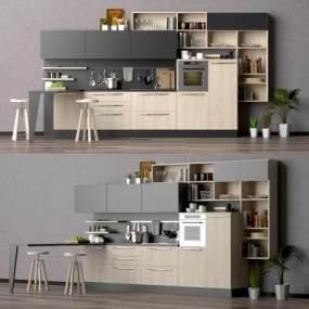 现代厨房橱柜组合3D模型【ID:132658718】