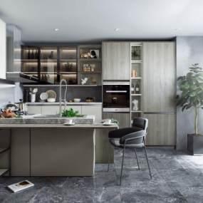 现代风格开放式厨房3D模型【ID:552996303】