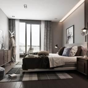 现代卧室3D模型【ID:534675288】