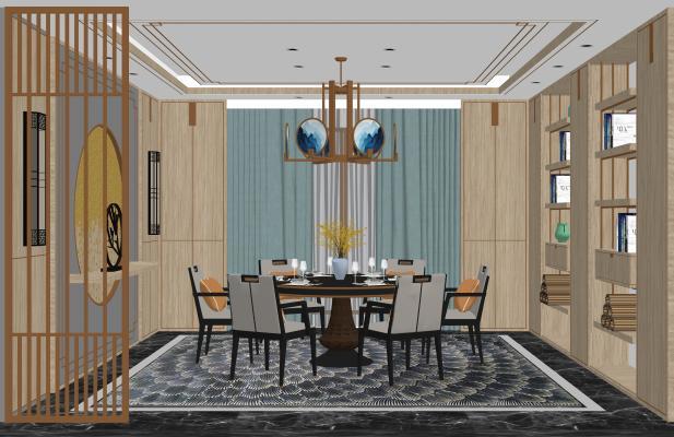 新中式餐廳空間SU模型【ID:548376388】