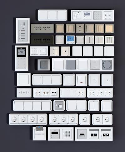 現代開關插座3D模型【ID:334054367】