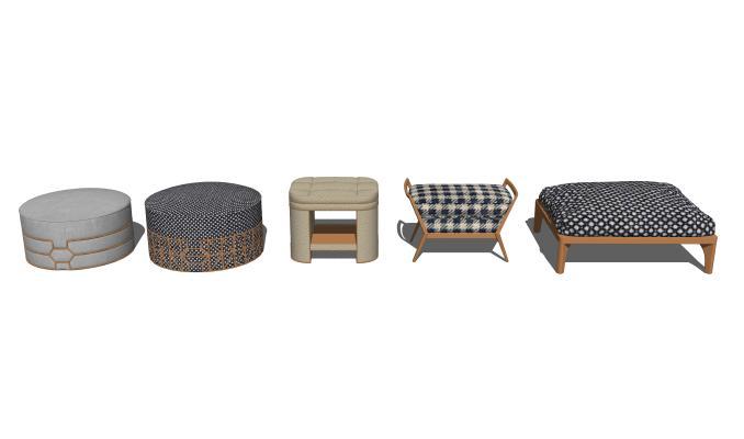 现代矮凳沙发凳组合SU模型【ID:847882511】