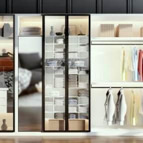 现代衣柜摆件组合3D模型【ID:132819486】